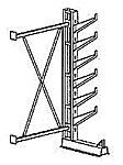 "Cantilever Rack, Med. Duty, 7'H x 6'W - Adder, (6) 16"" Inclined Arms,  1000 Lbs. Cap."