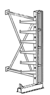 "Cantilever Rack, Med. Duty, 7'H x 6'W - Adder, (6) 16"" Straight Arms,  1000 Lbs. Cap."