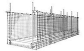 "Box-Shaped Conveyor Safety Net, 9'W x 25'L, 1"" x 1"" mesh net"