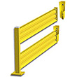 Lift-Out Steel Guard Rail - Double High Adder at 108 inch Post centers