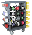 "8-Rod Mobile Wire Spool Rack w/ Louvered Side Panels - 32""W x 24""D x 46""H"