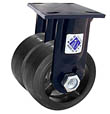 "75 Series Rigid Dual Caster - 8"" x 2"" Rubber on Iron Wheels - 1,000 lb. Cap."