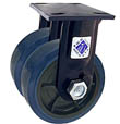 "75 Series Rigid Dual Caster - 8"" x 2"" Urethane on Plastic Wheels - 2,000 lb. Cap."