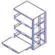 48 x 48 x 72 EZ-Glide Full Extension Roll-Out Shelving - 3 Shelves - Adder