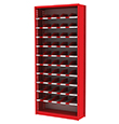 "Small Parts Bin Shelving - 38""W x 12""D x 84""H, 10 Adjustable Shelves, 51 Bins"