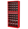 "Small Parts Bin and Drawer Shelving - 38""W x 12""D x 84""H, 10 Adjustable Shelves, 43 Bins, 12 Drawers"