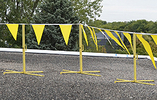 Folding Warning Line Set - 3 Folding Bases & Stanchions, 100' Flags