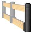 "End Post for Flexible Double High Guardrail - 33.2"" H"