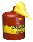 "Type I Red Flammables Safety Can, 5-gal./w funnel, 11-3/4"" x 16-7/8"""
