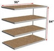 "Long Span Shelving, 96"" x 24"" x 84"", w/Decks, 1000 Lbs. Cap. - Adder"
