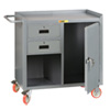 "Mobile Workbench Cabinet - 24"" x 36"", 2 Drawers, Steel Top, Cabinet Doors"