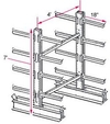 "7'h x 4'w Medium-Heavy Duty Cantilever Rack - Starter  - (16) 18"", 870 Lbs. Cap. Arms"