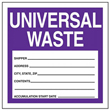 Purple Universal Waste Label - 6 in. x 6 in., Roll of 250