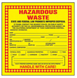 Yellow Hazardous Waste Label, California - 6 in. x 6 in., Roll of 250