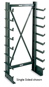 "Cantilever Rack - Double-Sided, 3' Brace Width, 76""H, (28) 12"" Arms, Light Duty - 250 lbs. arm cap."