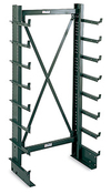 "Cantilever Rack, Single-Sided - 3' Brace Width, 76""H, (14) 12"" Arms, Light Duty - 250 lbs. arm cap."