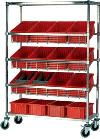 "Mobile Slanted Wire Shelving - 36""L x 18""W x 63""H with Twelve 16-1/2"" x 10-7/8"" x 3-1/2"" bins"