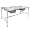 Cannabis Trim Table with Stainless Steel Top - I-frame with 2 holes for collection