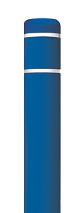 "Blue Bollard Cover with White Contrast Stripe - Fits 52""H x 4.5""Dia. Post"