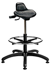 "Polyurethane Sit/Stand Stool with Contoured Tilt Seat - 18.5"" - 26""H adjustable, 5-leg ABS Plastic Base"