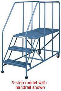 "Mobile Platform Ladder, 36""W x 36""D x 50""H Platform, 80"" OAH, with handrail, 5 Steps"