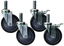 "Four Swivel 5"" x 1-1/4"" Polyurethane Casters, 2 with brake"