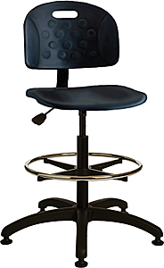 "Polyurethane Work Stool with Contoured Waterfall Seat - Adjustable Backrest, 19.5"" - 27""H adjustable"
