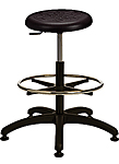"Polyurethane Work Stool with Round Seat - 19.5"" - 27""H adjustable, 5-leg ABS Plastic Base"