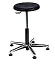 "Polyurethane Work Stool with Round Seat - 15"" - 20""H adjustable, 5-leg Polished Aluminum Base"