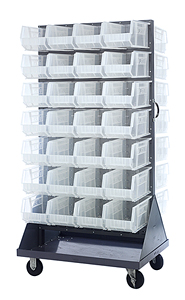 Double Sided Louvered Rack w/ 56 Clear View Bins
