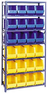 "Steel Shelving, 18"" x 36"" x 75"", 6 Shelves, 24 Bins"