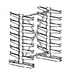 "Cantilever Rack, Double Sided, Light Duty - Starter; 6' Brace Width, (28) 14"" Arms."