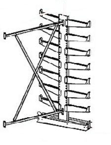 "Cantilever Rack, Double Sided, Light Duty - Adder; 6' Brace Width, (14) 14"" Arms."