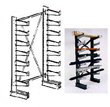 "Cantilever Rack, Single-Sided, Light Duty - Starter; 3' Brace Width, (14) 14"" Arms."