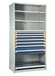 "Steel Shelving, 75h x 42w x 18d, w/ 48""h, 7-drawer unit, 4 shelves"