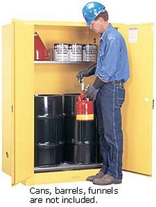 Vertical Drum Cabinet - 2 door, manual w/ drum rollers - Sure-Grip Handle, 2: 30-gal. drums