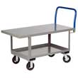 "Ergonomic Platform Truck - 24"" x 60"" Steel Deck w/ Flush Edges, Lower Shelf, Rubber Wheels"