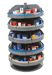 "Rotabin Shelving, 28"" dia x 34-1/8""h, 5 shelves, 30 compartments"