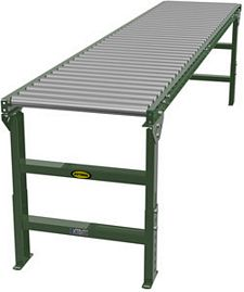 "Steel Frame Gravity Roller Conveyor - 10' long, 18"" wide, with supports"