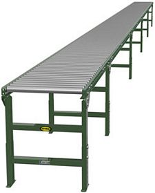 "Steel Frame Gravity Roller Conveyor - 45' long, 24"" wide, with supports"
