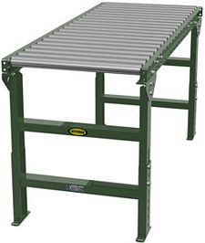 "1.9"" Galvanized Gravity Roller Conveyor - 5' long, 36"" wide, with supports"