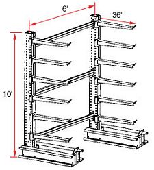 "Cantilever Rack, Extra Heavy Duty - Starter, (12) 36"" Arms - 6 Levels , 1300 Lbs. Cap."