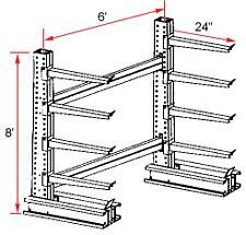 "Cantilever Rack, Extra Heavy Duty - Starter, (8) 24"" Arms - 4 Levels, 2000 Lbs. Cap."