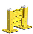 Lift-Out Steel Guard Rail - Single High Starter at 12 inch Post centers