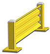 4ft. W x 18 in. H Steel Guard Rail - Single High Starter