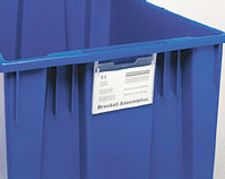 "Clear Label Holder for Stack & Nest Totes - 3"" x 5"", Carton of 6"