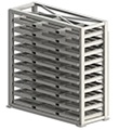 "Sheet Metal Stacker with Fork Pockets - 10 Shelves, 4"" Clearance, 120""W x 48""D x 8'H"