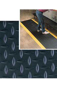 Diamond-Plate SpongeCote Beveled Heavy Duty Black w/Yellow Chevron Borders 9/16in x 3ft x 5ft
