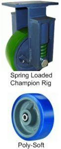 "Spring Loaded Champion Rigid Caster - 8"" x 3"" Poly-Soft Wheel, 850 lbs Cap., Tapered Bearing"
