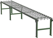 "Steel Skatewheel Conveyor - 15' long, 15"" wide, with supports"